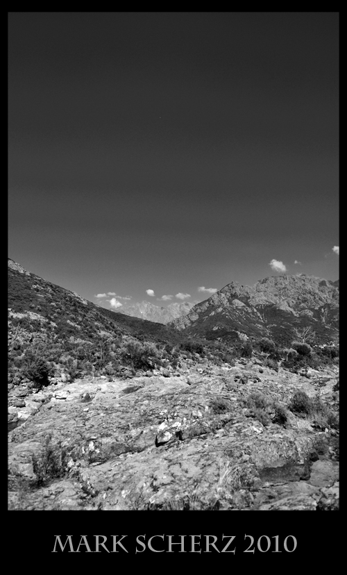 Corsica Mountains in Black and White 2