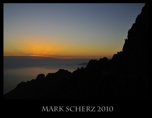 Sunglow after sunset on the Calanques of Corsica